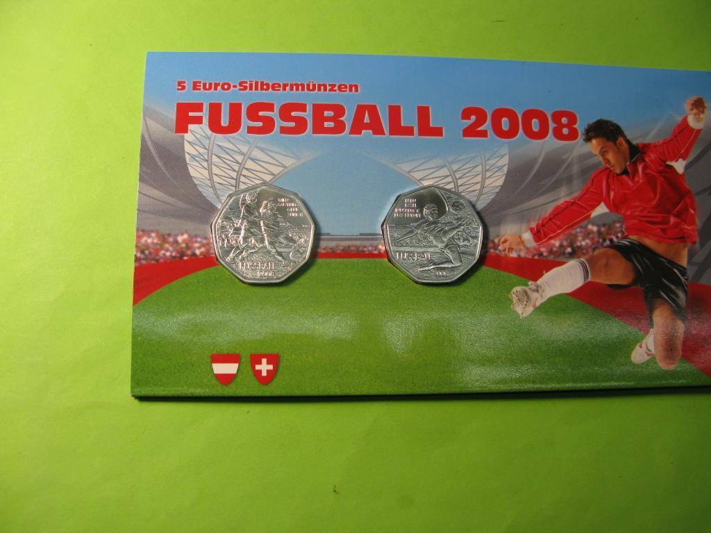 Австрия 2 Х 5 евро 2008 г. серебро Чемпионат Европы по футболу.
