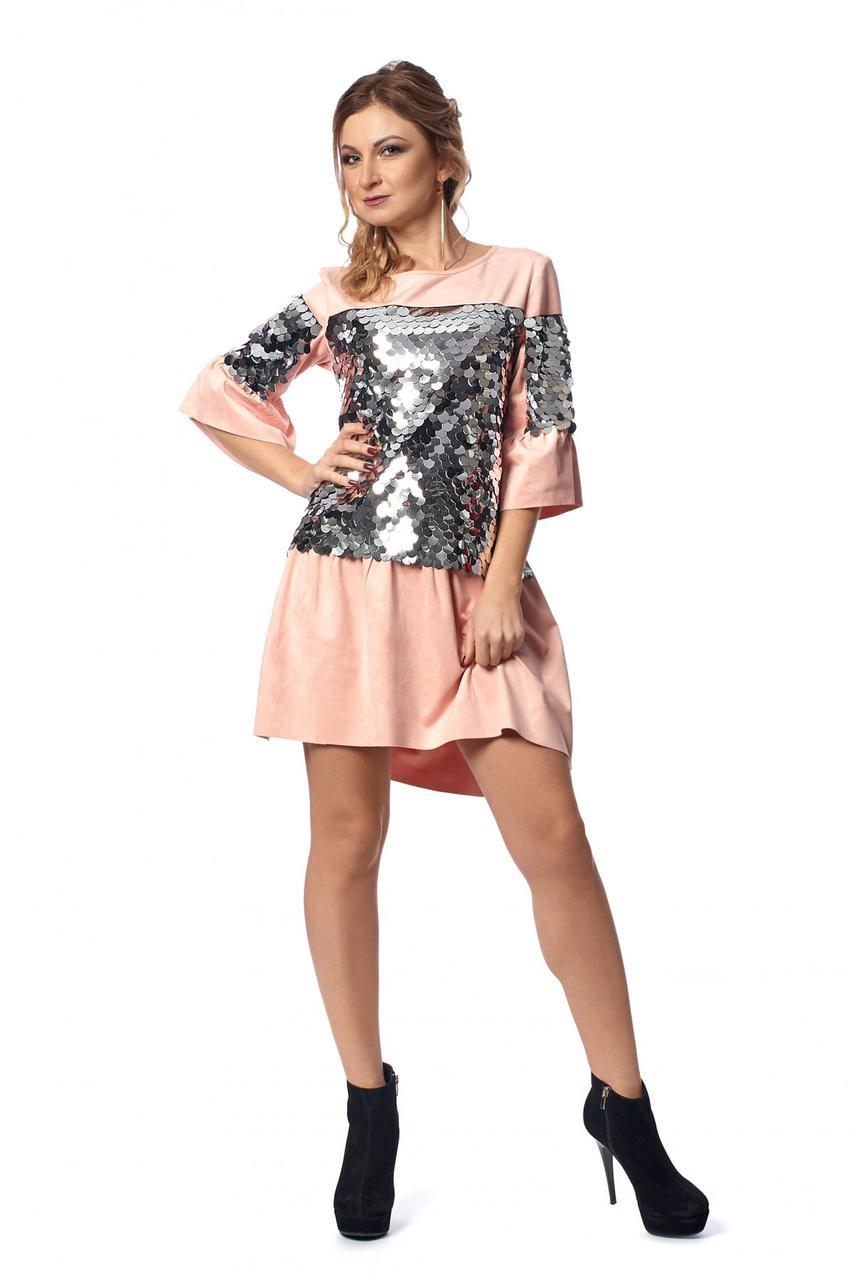 Милое платье из замши декорированное пайетками 42-48.