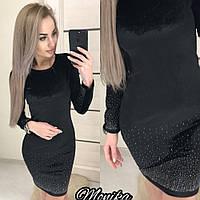 Платье женское велюровое со стразами 7020