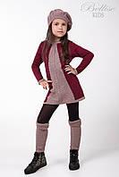 Теплый детский комплект для девочек (берет, платье и гетры), вишня/сухая роза