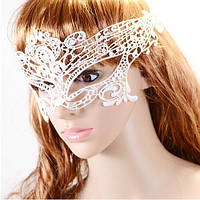 Ажурная кружевная маска для лица на глаза белая