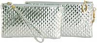 Стильный женский комплект клатч+косметичка из искусственной кожи Traum 7202-09 серебряный