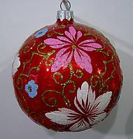 Елочный шар глянцевый красный Французские цветы 100 мм.
