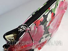 """Косметичка женская """"Цветы"""" прямоугольной формы с ручкой, фото 3"""