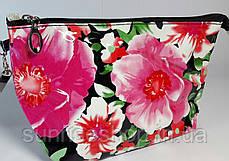 """Косметичка женская """"Цветы"""" прямоугольной формы с ручкой, фото 2"""