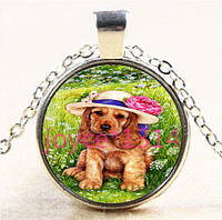 Ожерелье с кулоном Собачка, год собаки, подарок на Новый год, подарок в год Собаки, в шляпке, цвет серебро