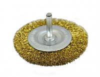 Щетка-крацовку дисковая латунная со шпилькой, 75 мм, Spitce (18-061)