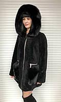 Шуба женская натуральная мутоновая короткая с капюшоном, фото 1
