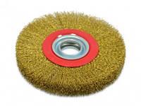 Щетка-крацовку утолщенная дисковая латунная 200х32мм, Spitce (18-075)