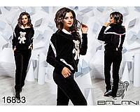 Женский спортивный костюм черный велюр- 16833 р-р M   L женская одежда, интернет магазин Украина