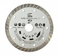 "Алмазный диск по бетону, камню, ""TURBO"", 125 мм, Spitce (22-806)"
