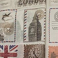 Тюль под  лен с рисунком Лондон  Китай,  высота 2.8 м