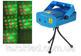 Лазерный прибор S09C светомузыка (снежинки, звездочки, сердечки, точки)