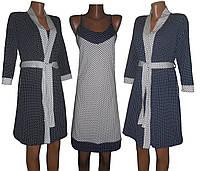 Комплет 02105 Кэтти Контраст, халат и ночная рубашка, хлопок, р.р.42-54