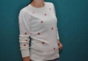 Свитер женский элегантный белый в розы Турция бренды