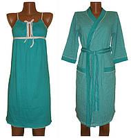 Комплект пеньюар, ночная рубашка и халат из хлопка 02100 Аля Лайт, р.р. 42-56