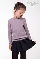 """Нежный детский джемпер """"травка"""" для девочек жемчужно-розового цвета"""