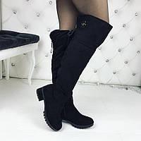 Женские чёрные зимние  ботфорты замшевые