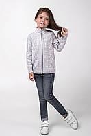 Теплая детская кофта на молнии для девочек светло-серого цвета
