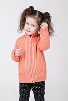 Теплая детская кофта на молнии для девочек персикового цвета