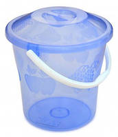 Ведро пластиковое с крышкой прозрачное , пищевое , 12 л 66-268