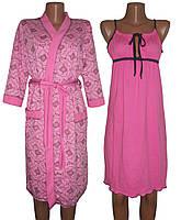 Комплект пеньюар 02104 Amour розовый, ночная рубашка и халат, р.р. 42-56