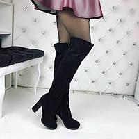Женские демисезонные   ботфорты чёрные замшевые на устойчивом каблуке