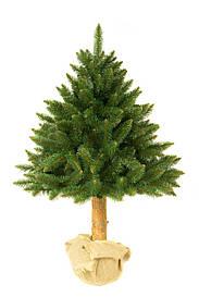 Штучна новорічна ялинка на натуральному стовбурі 120 см + гірлянда у подарунок