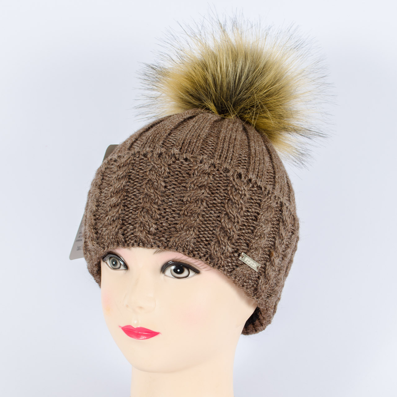 Женская шапка с помпоном  (Шоколад)