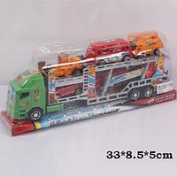 Трейлер машина-транспортер инерционный921-5 (84шт/2) с машинками,  под слюдой 33*8, 5*5 см.