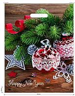 Пакет новогодний с врезной ручкой, 45х35 см / Елка и шары