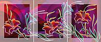 Модульная картина на стекле с МДФ подложкой Цветы 40*50 см  * 3шт