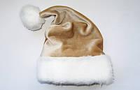 Новогодняя Шапка Взрослая Золотая Деда Мороза Колпак Санта Клауса Santa Claus , фото 1
