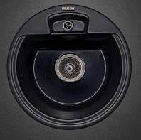 Гранитная мойка круглая 54 см Fancy Marble Valencia светло-черная