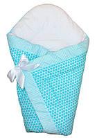 Теплый конверт Одеяло для мальчиков зима 90х90см голубой горох