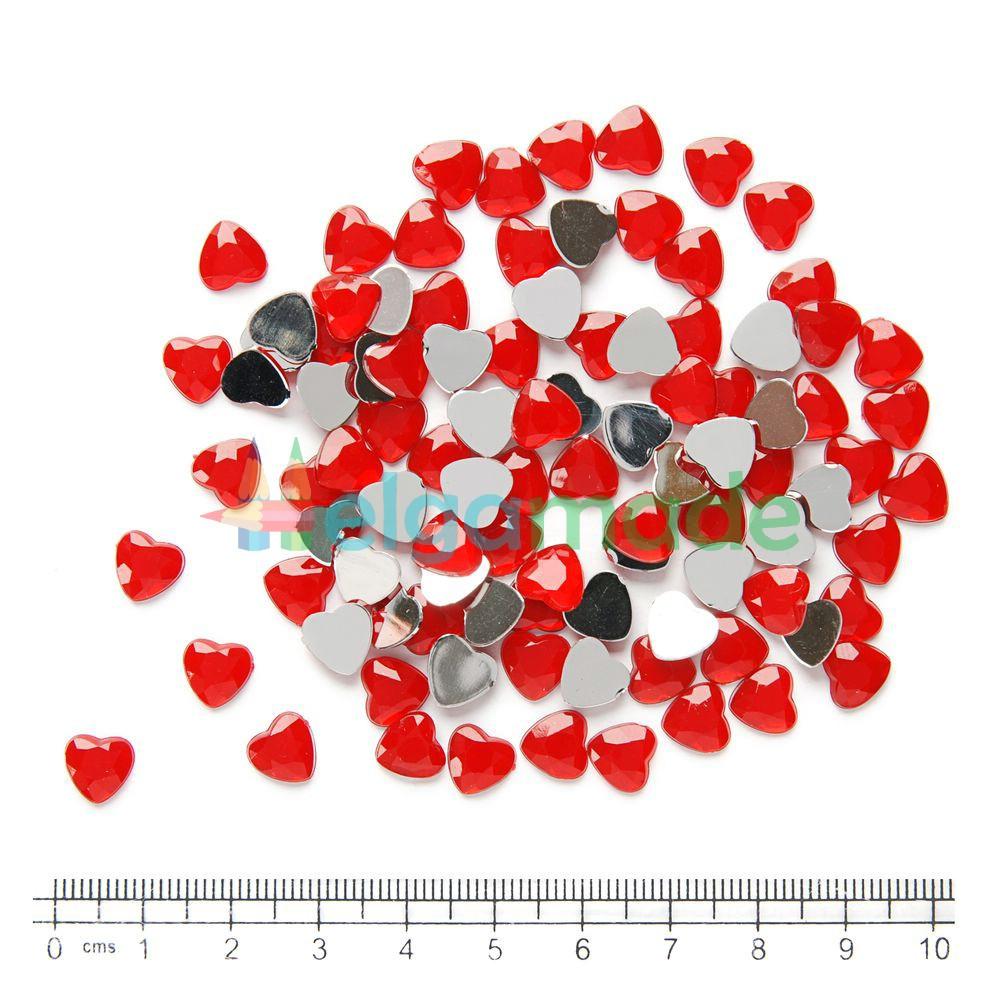 Камни пластиковые СЕРДЦА КРАСНЫЕ, 8 мм, 100 шт