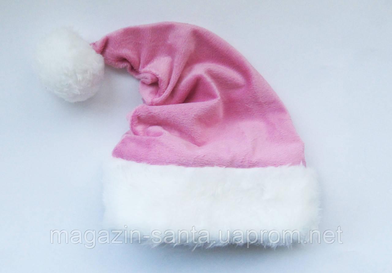 Новогодняя шапка Деда Мороза Светло-Розовая Колпак Санта Клауса Santa Claus для Взрослых