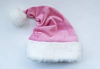 Новогодняя шапка Деда Мороза Светло-Розовая Колпак Санта Клауса Santa Claus для Взрослых, фото 1