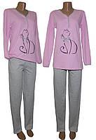 Пижама женская теплая трикотажная 03218-6 Pink Cat на байке, р.р.44-54