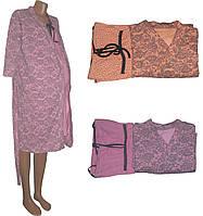 Теплый халат и ночная рубашка 02107 Амарант для беременных и кормящих, р.р. 42-56
