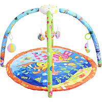Килимок рорзвиваючий для немовляти Bambi 898-40 A-B дуги, підвіски, музика, світло, 63-51-7 см