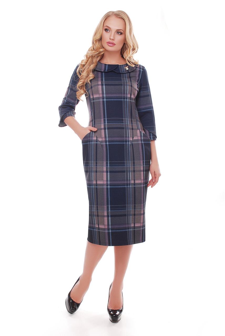 Трикотажное  платье Мэри клетка пудра Vlavi