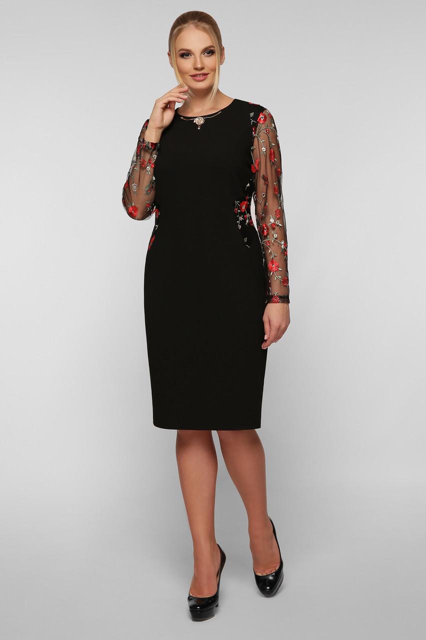 Нарядное платье Адель черное маки Vlavi